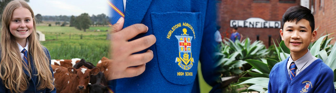 First image is of a student with cows in the background. The second image is of the Hurlstone Agricultural High school crest on the students blazer pocket. Third image is of a students with an old Glenfield Station sign in the background.