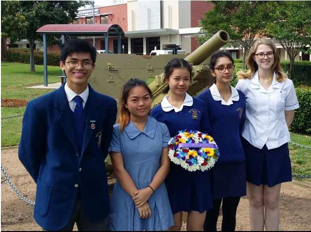 Students Benjamin, Leena, Ada, Gabriella and Imogen (left to right) attending the Campbelltown Remembrance Day service on the 9th of November.